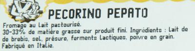 Pecorino Pepato (33 % MG) - Ingrediënten