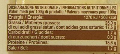 Gorgonzola AOP - Informations nutritionnelles