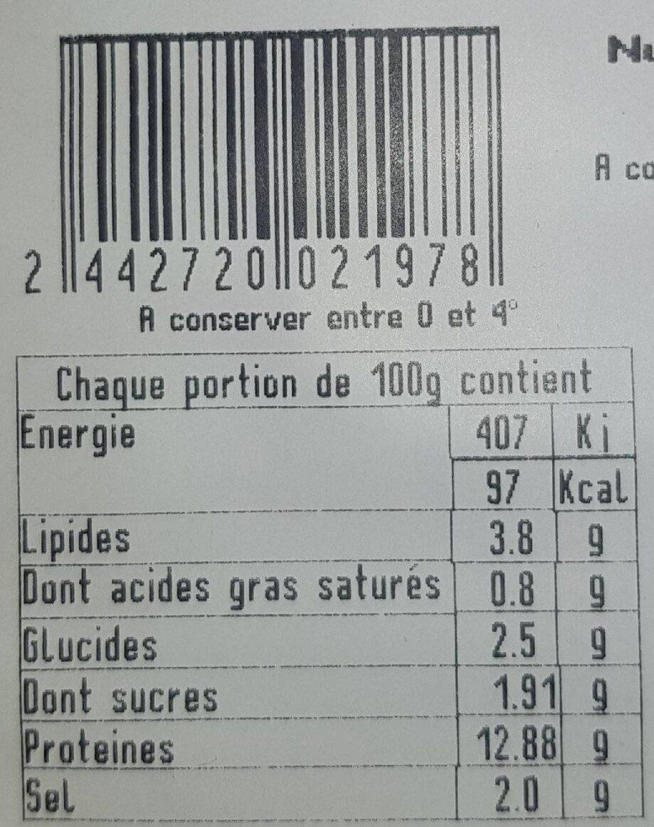 Tripe a la tomate bloc - Nutrition facts - fr