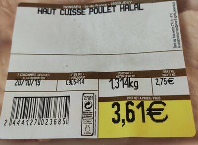 Haut de cuisse poulet halal - Nutrition facts - fr
