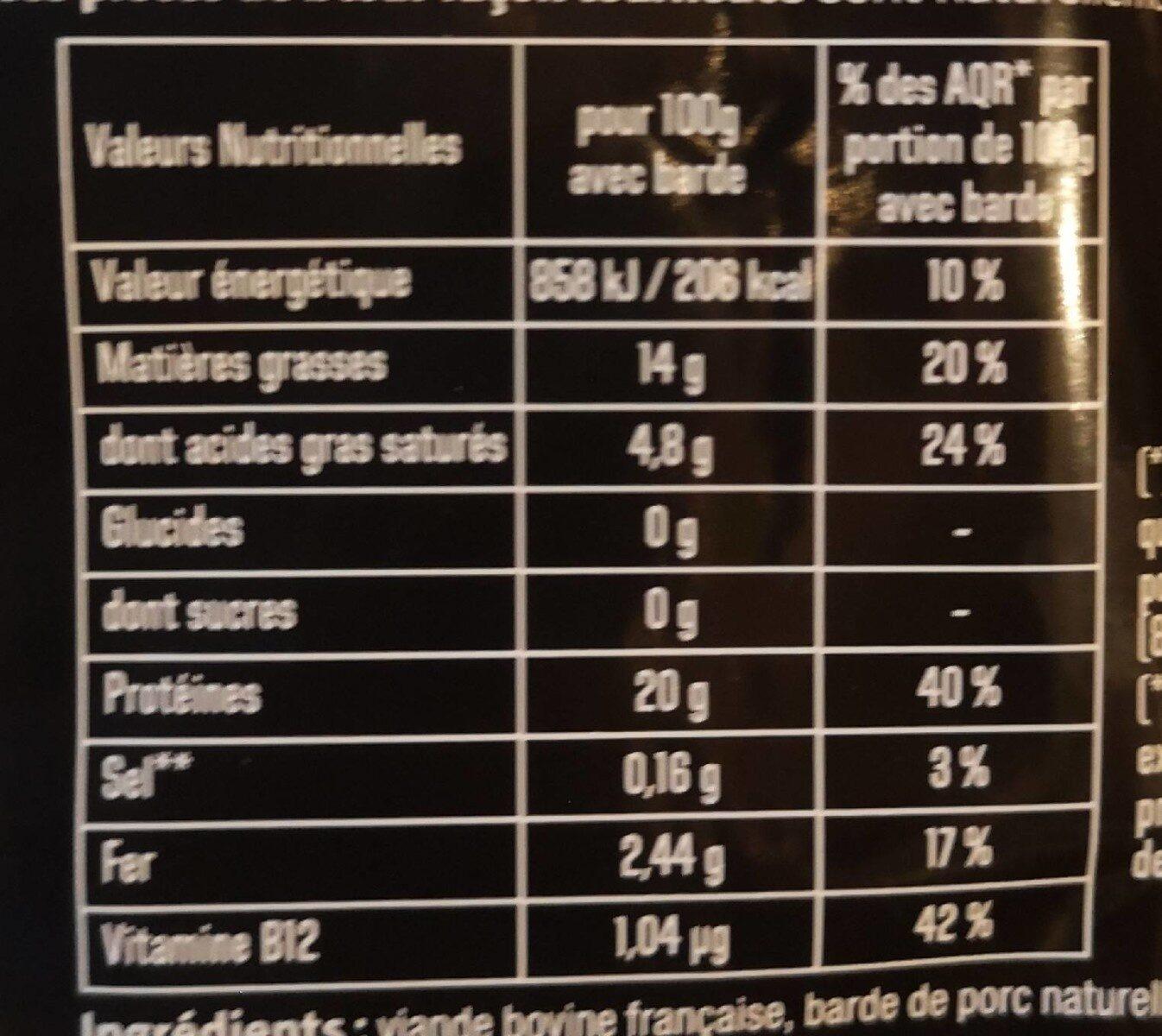 Tournedos - Informations nutritionnelles - fr
