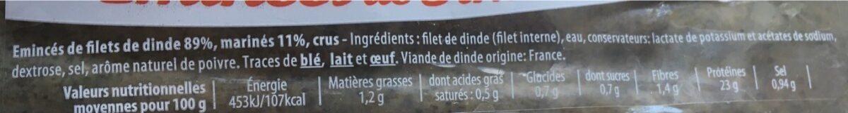 Emincés de dinde - Ingredients - fr
