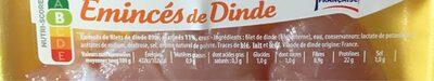 Emincés de dinde - Nutrition facts