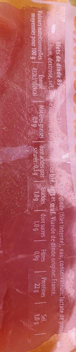 """Emincés de dinde """"Père Dodu les extras tendre du chef"""" - Nutrition facts - fr"""