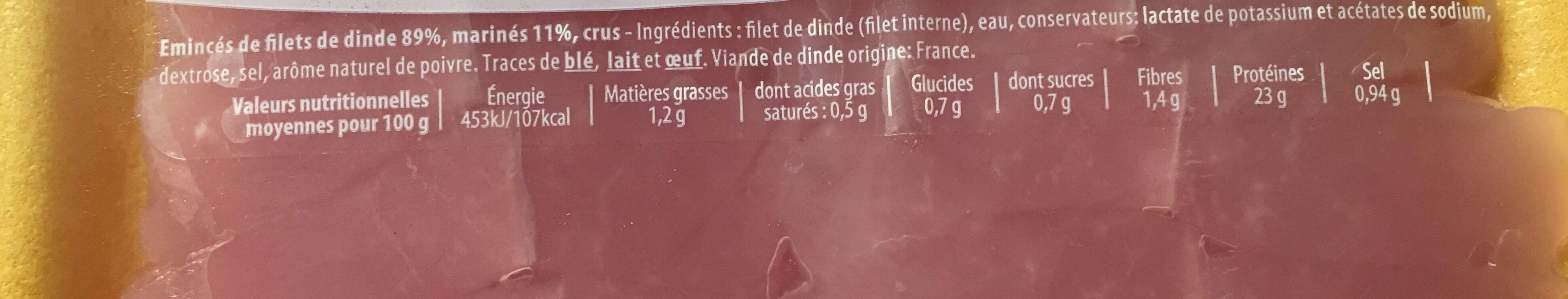 Eminces de dinde - Ingredients - fr
