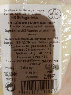 Pecorino romano - Ingrédients