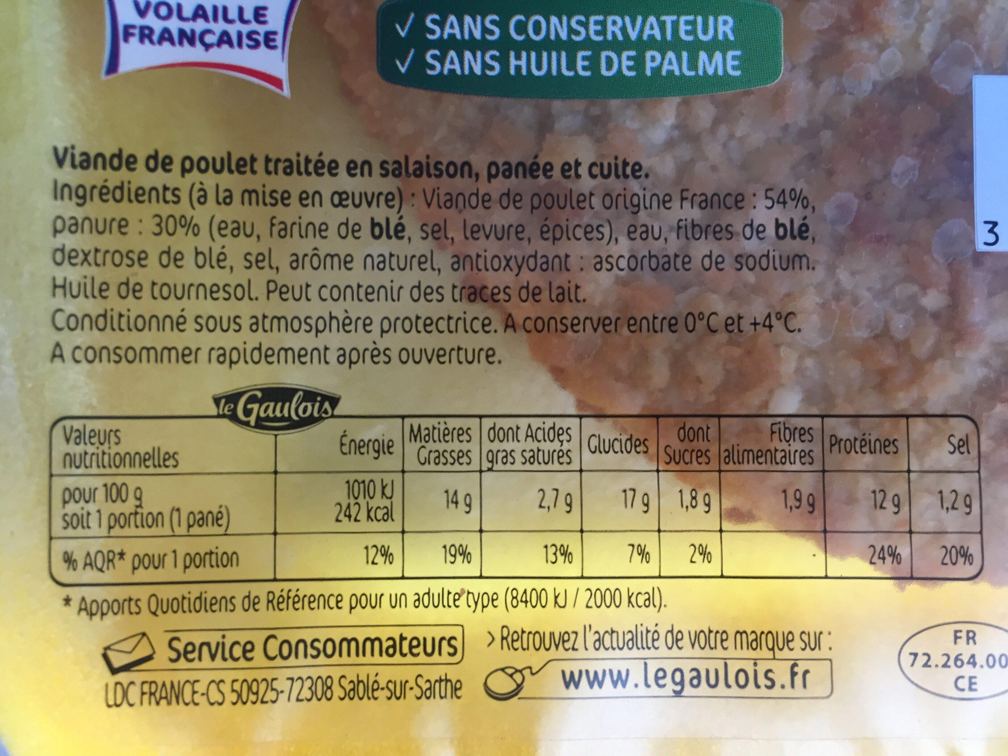 Panés de poulet - Ingrediënten