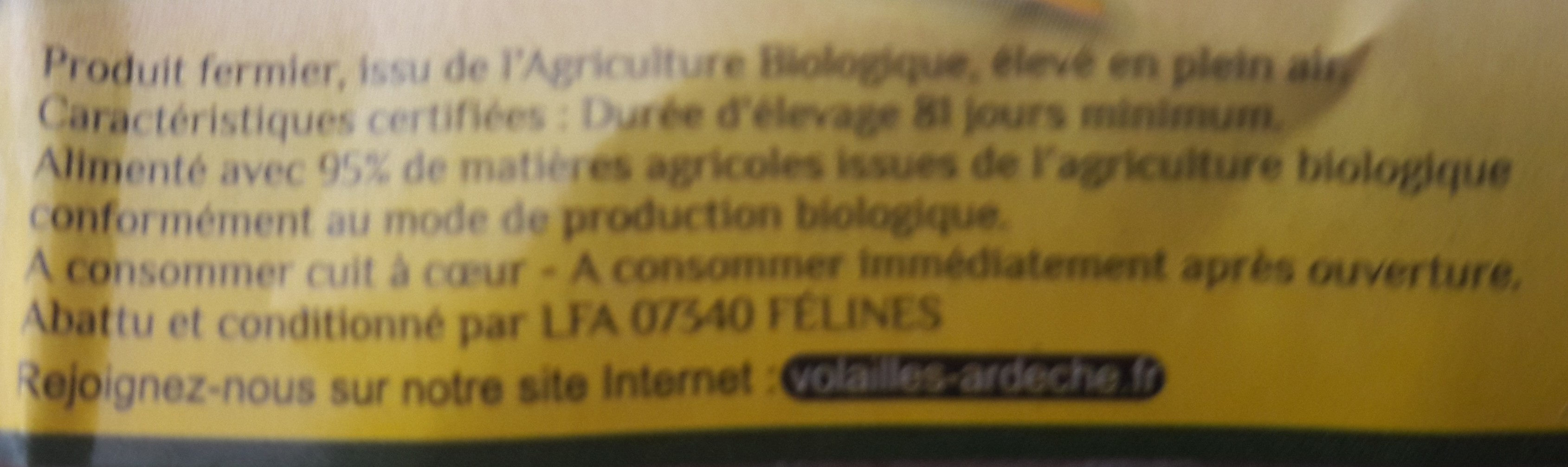 2 cuisses bio - Ingredients - fr