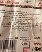 Le bridé - recette du père baptiste - Saucisson pur porc - Ingredients - fr