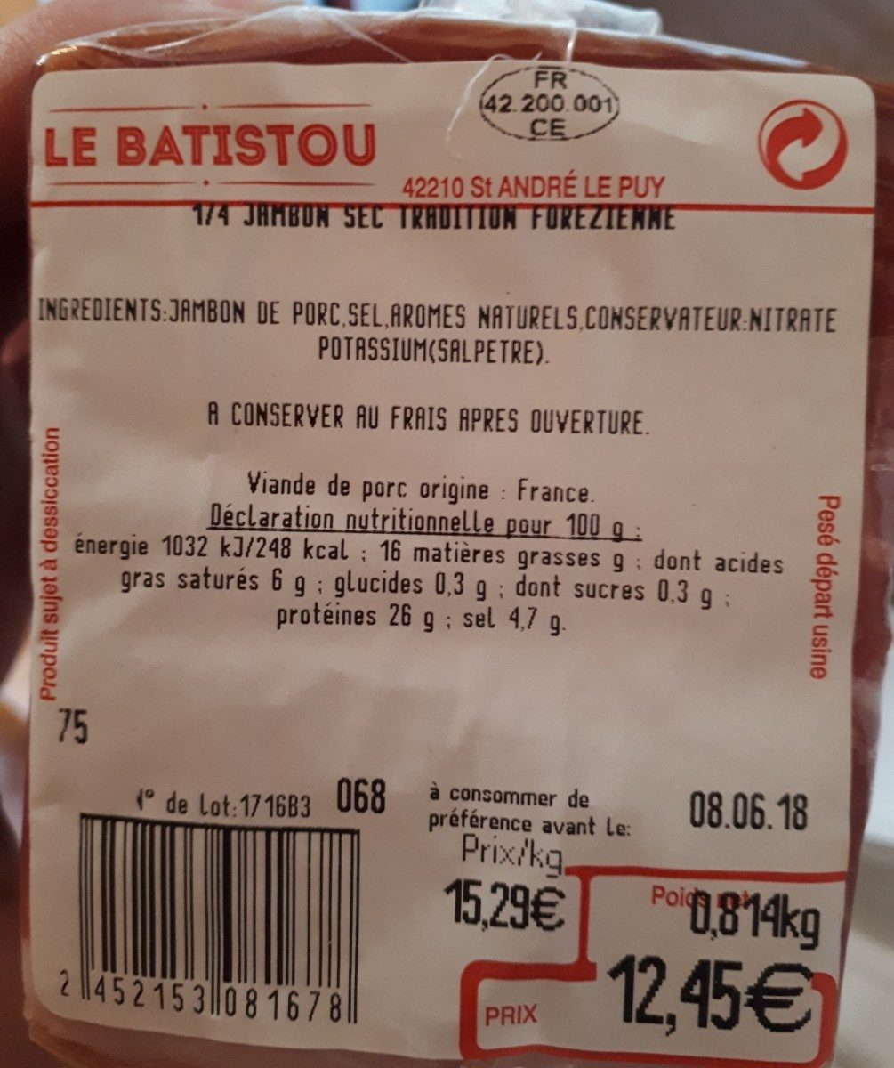 Jambon sec tradition forezienne - Ingredients - fr