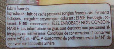 Edam au lait pasteurisé - Ingrédients - fr