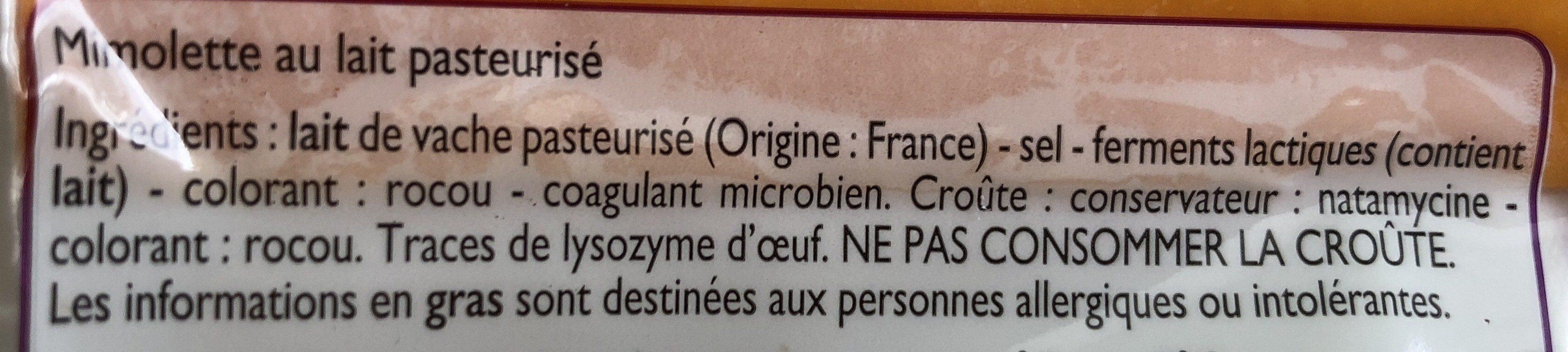 Mimolette au lait pasteurisé - Ingredienti - fr