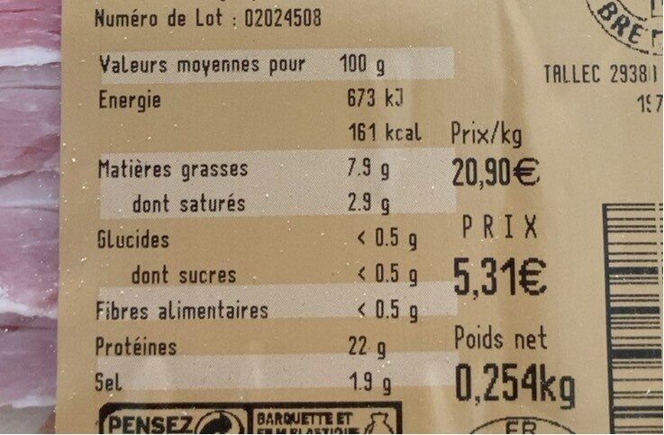 Jambon a l'ancienne - Nutrition facts - fr