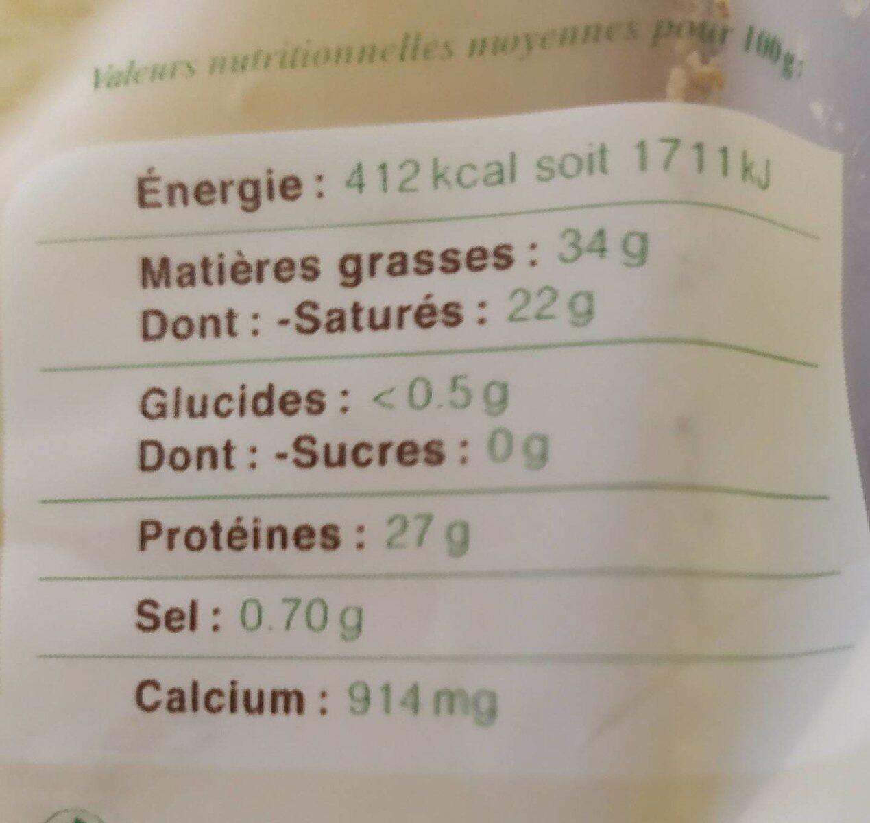 Comté Marcel Petite Bio - Nutrition facts - fr