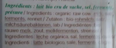 Comté bio Marcel Petite - Ingredients - fr