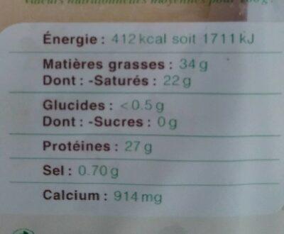 Comté bio Marcel Petite - Nutrition facts - fr