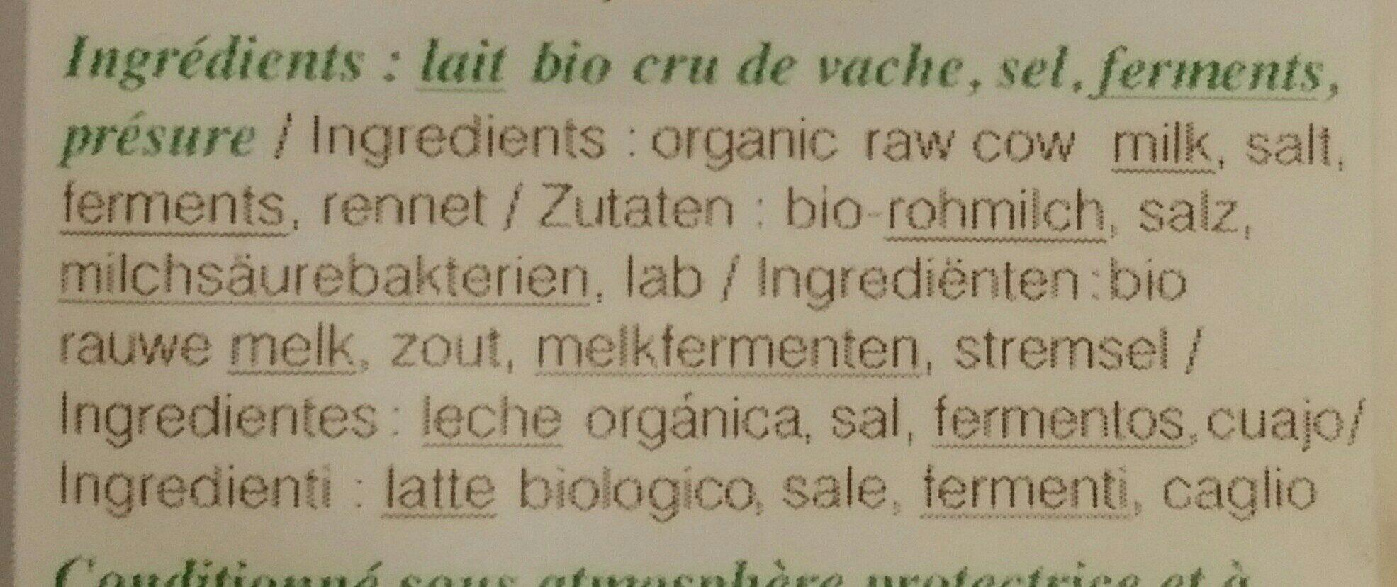 Comté Marcel Petite Bio - Ingredients - fr
