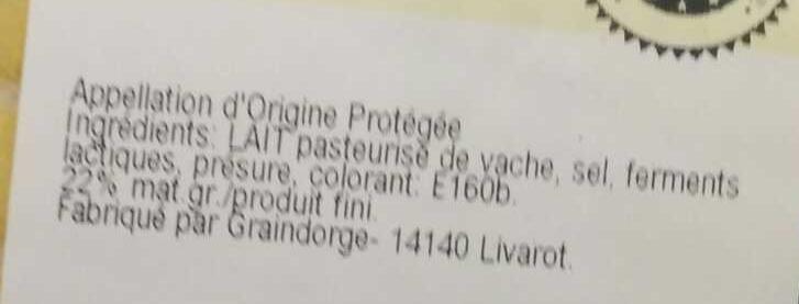 Livarot AOP (22 % MG) - Ingredients