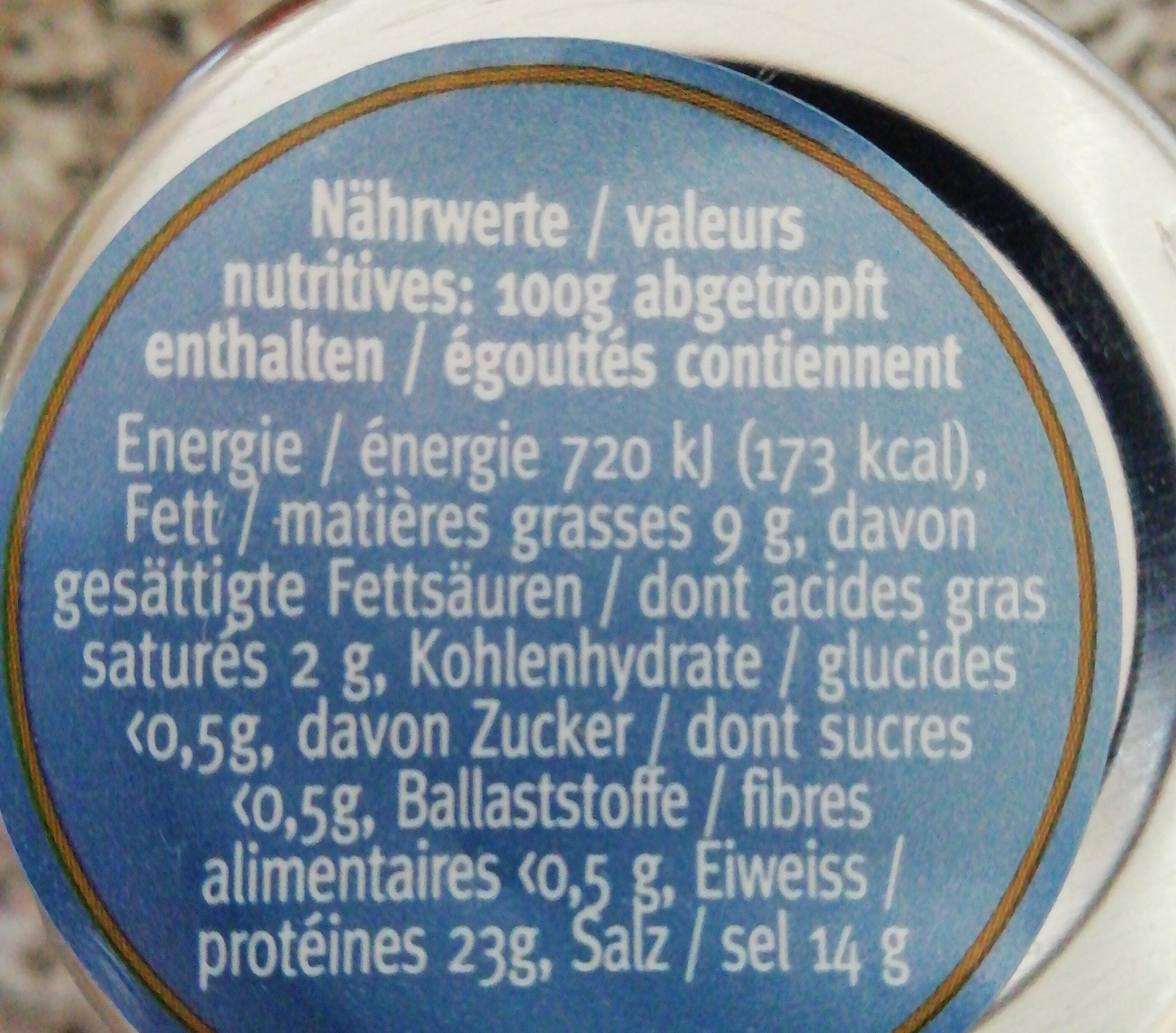 Anchois de la mer Cantabrique à l'huile d'olive - Voedingswaarden - fr