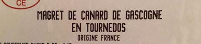 Magret de canard de Gascogne en tournedos - Ingrédients - fr