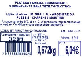 Plateau familial économique : 3 demi-avants sans tête thym citron - Ingredients
