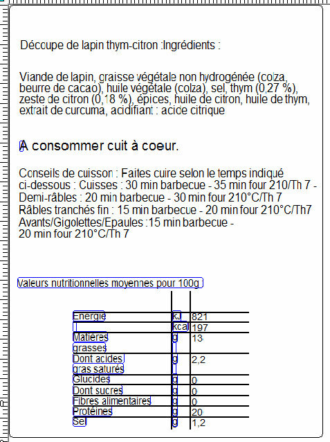Plateau familial économique : 3 demi-avants sans tête thym citron - Nutrition facts