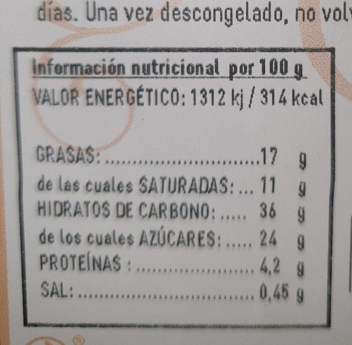 Tarta queso y frambuesa - Información nutricional - en