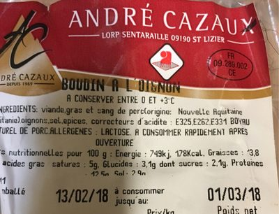 Boudin a l'oignon - Produit