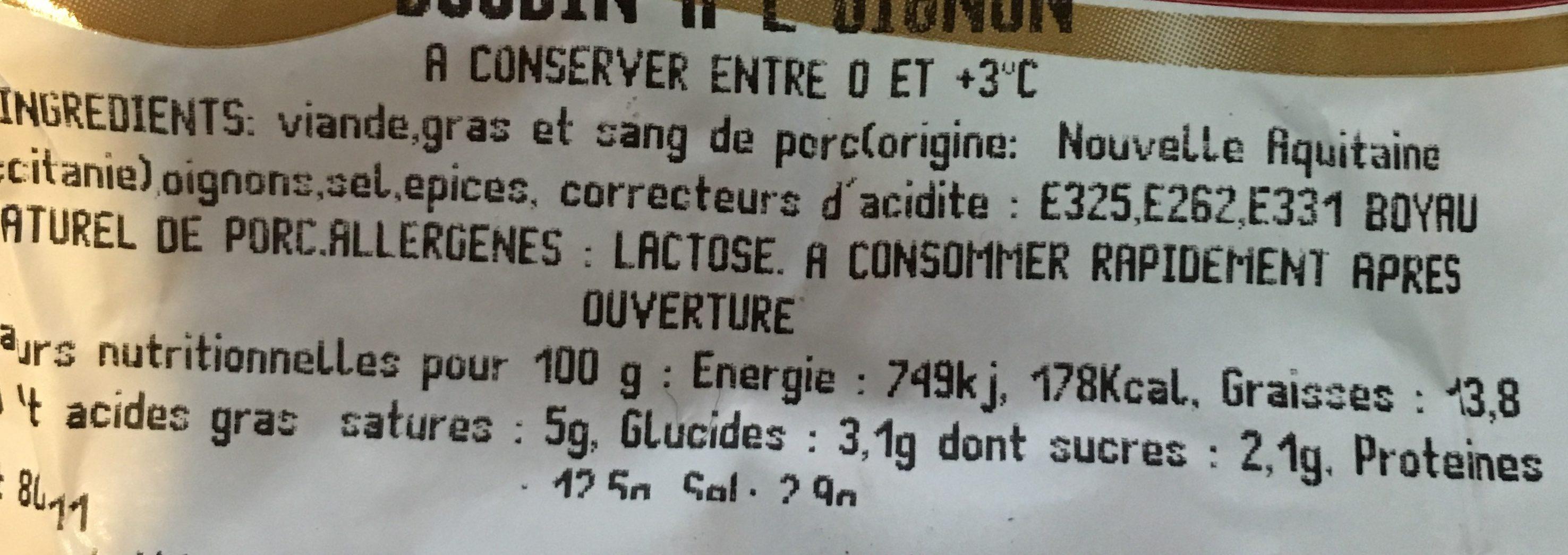Boudin a l'oignon - Ingrédients - fr