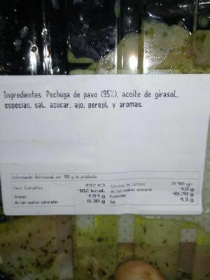 Pechuga fileteada pavo al ajillo - Informations nutritionnelles - es