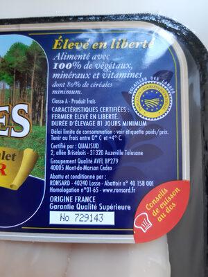poulet fermier jaune de Landes - Ingrediënten