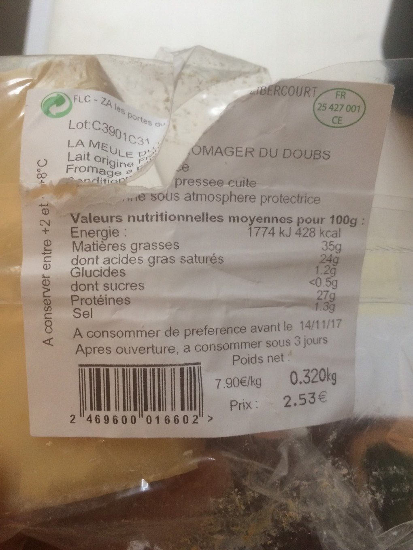 La meule du fromager - Valori nutrizionali - fr