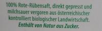 Rote-Rübensaft aus den Regionen Weinviertel und Waldviertel - Ingredients - de