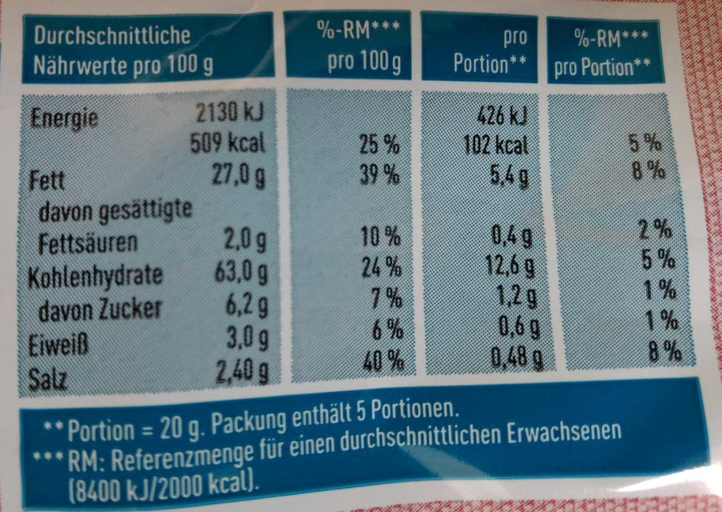 Krabbenchips - Nutrition facts