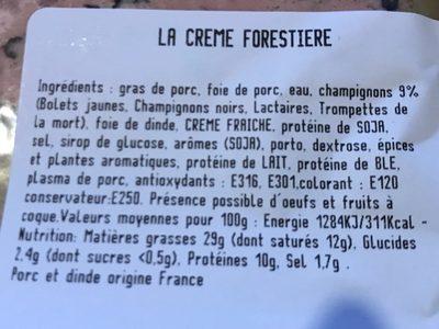 La creme forestiere - Ingredients