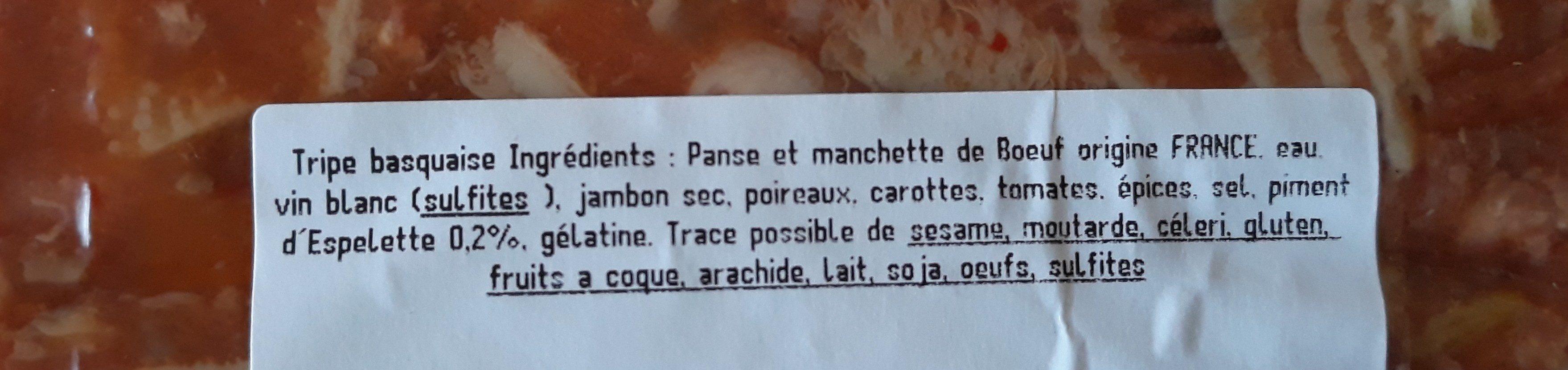 Tripes Basquaises - Ingrédients - fr