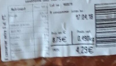 Tripes Basquaises - Informations nutritionnelles - fr