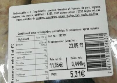 Andouillette paysanne - Ingrédients - fr