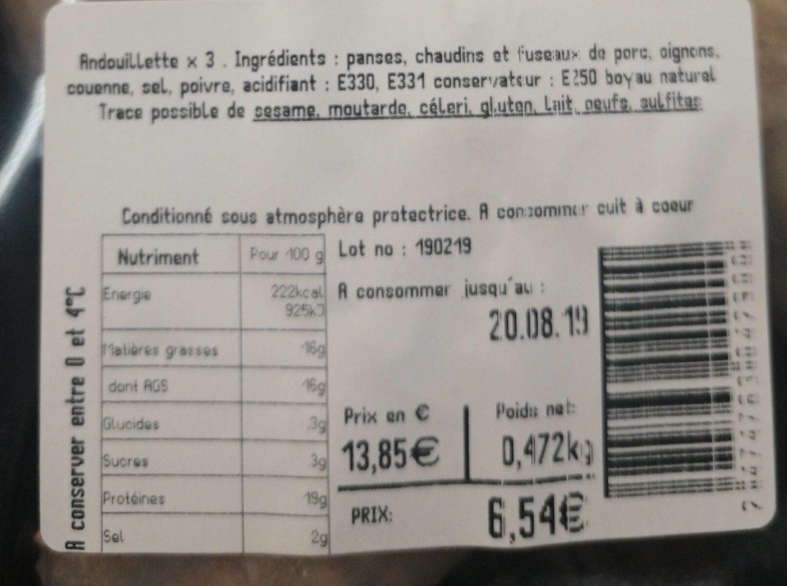 Andouillette paysanne - Informations nutritionnelles - fr