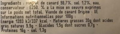 Magret de canard - Ingrediënten - fr