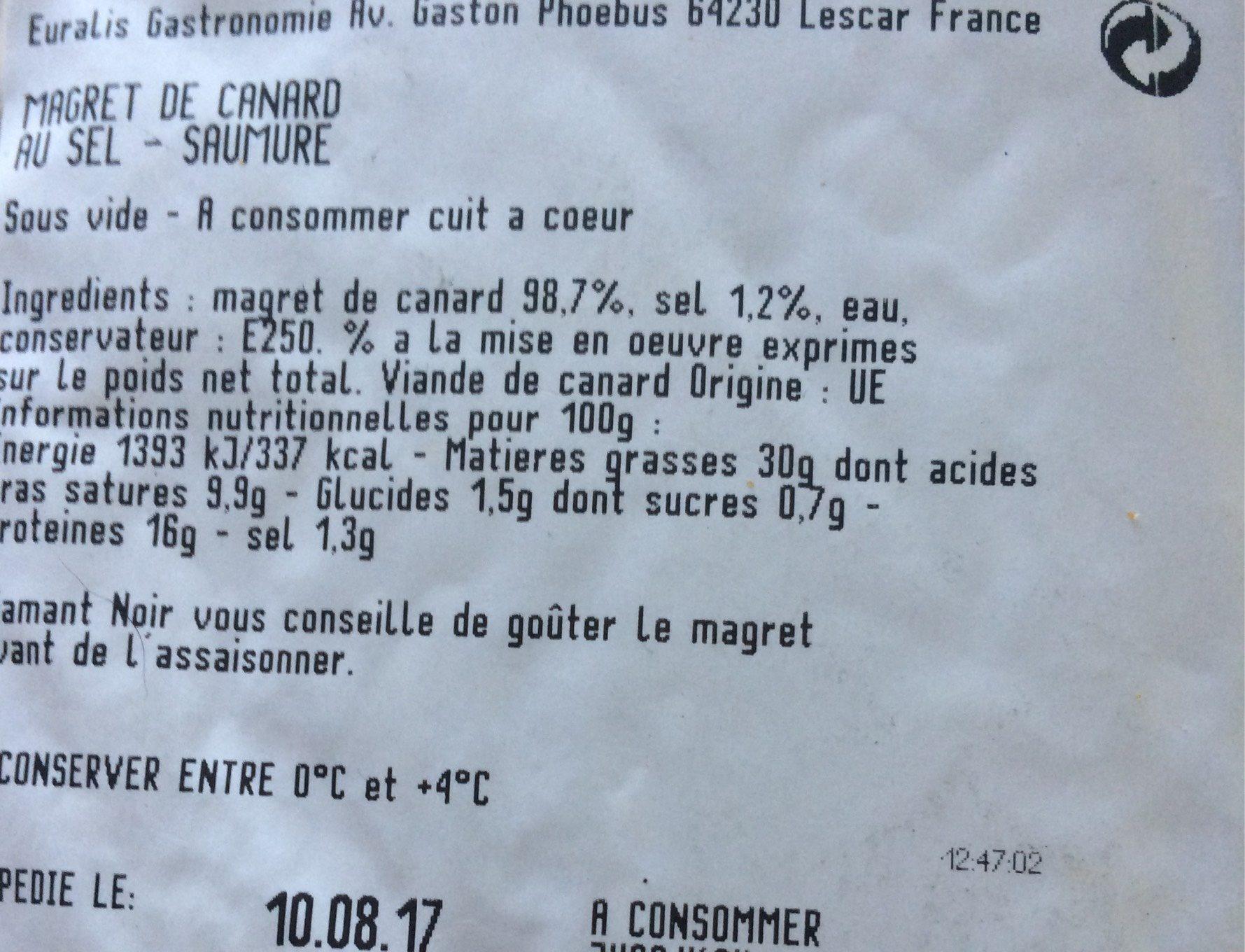 Magret de Canard - Voedingswaarden - fr