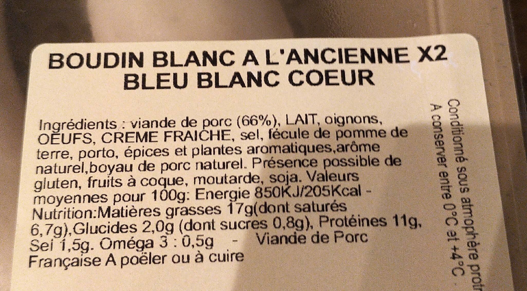 Boudin Blanc Recette à l'ancienne - Informations nutritionnelles - fr