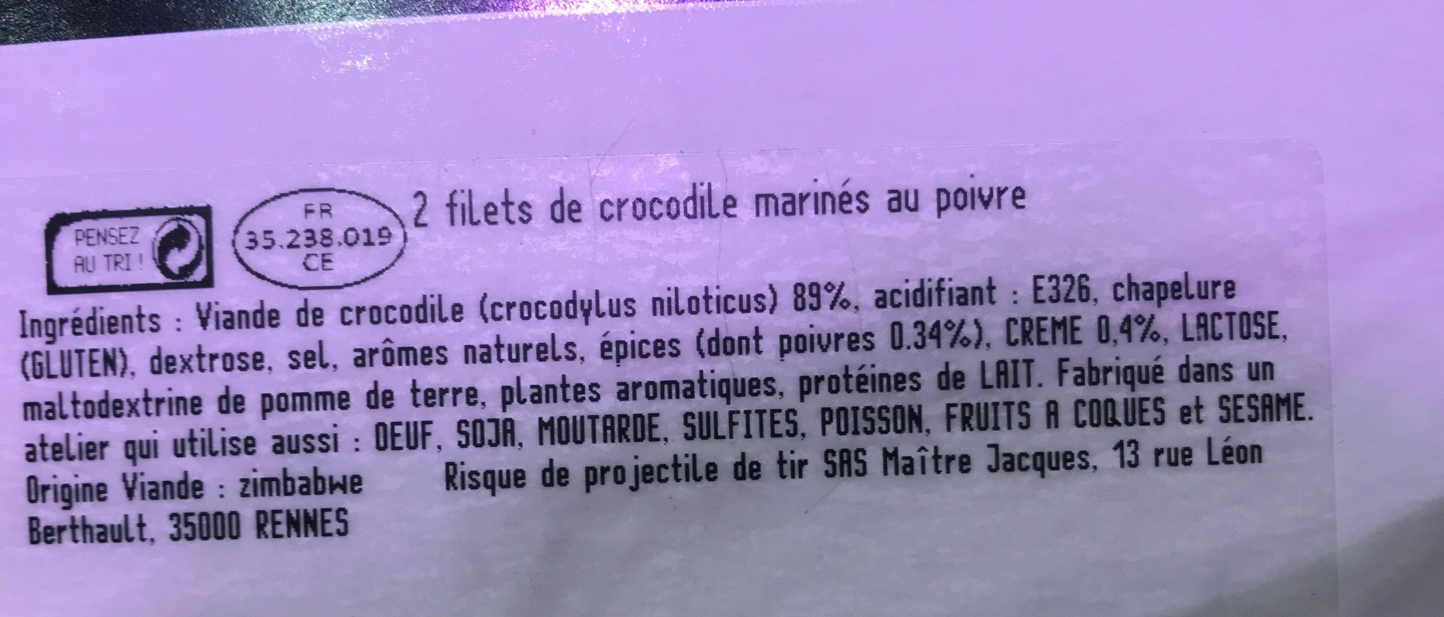 Filets de crocodile - Ingredients - fr
