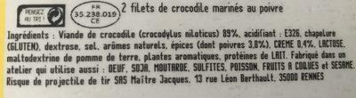 2 filets de crocodile marinés au poivre - Ingredients - fr