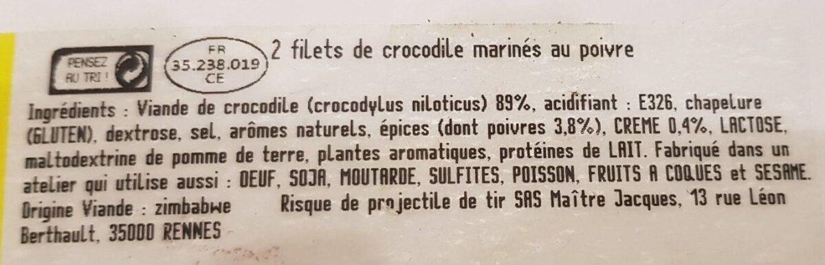 Filets de crocodile marinés au poivre - Ingredients - fr