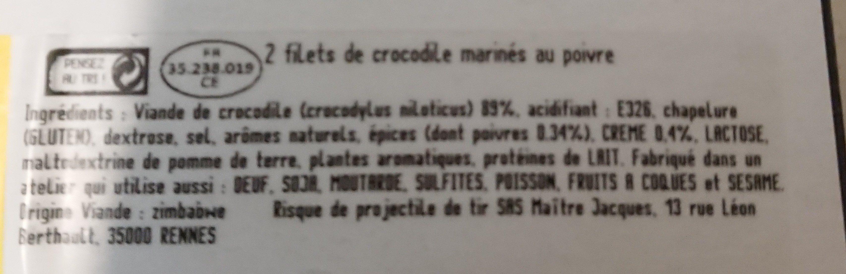 Filet de crocodile sauce poivre - Ingredients - fr