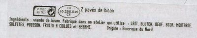 2 pavés de Bison nature - Ingrédients - fr