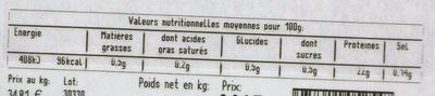 2 pavés de Bison nature - Informations nutritionnelles - fr