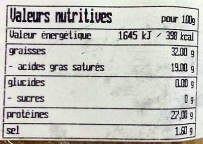 Gruyère Suisse AOP - 9 mois affinage - Nutrition facts - fr