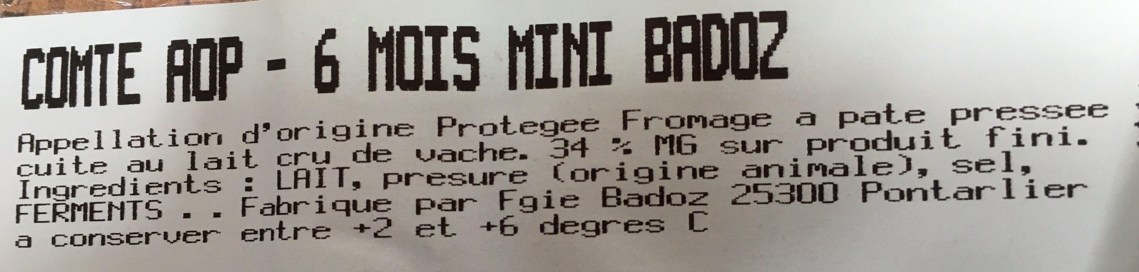 Comté AOP - 6 mois mini badoz - Ingrediënten